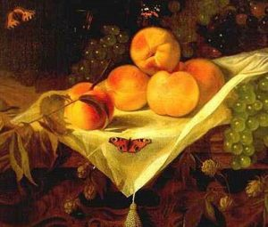 Still life with peaches and grapes (detail) by Abraham van Calraet c.1680 (via Wikimedia Commons)