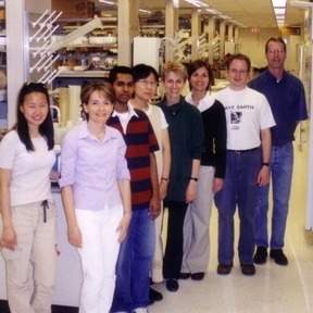 "Members of James Bliska's lab. In his Research Matters he says ""I try to foster a laboratory environment in which all members (technicians, graduate students, postdocs, and principal investigators) can serve as scientific role models."""