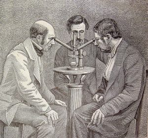 "Time to scrutinise science itself? ""Microscopio de tres cuerpos para las observaciones simultáneas"" from ""El mundo físico : gravedad, gravitación, luz, calor, electricidad, magnetismo, etc."" (A. Guillemin. - Barcelona Montaner y Simón, 1882) via flickr user fdctsevilla"
