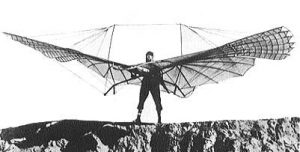 Otto Lilienthal makes like a bat in 1894 (Wikimedia Commons).